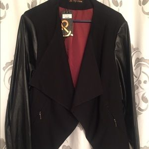 Addition Elle 3X faux leather sleeve blazer